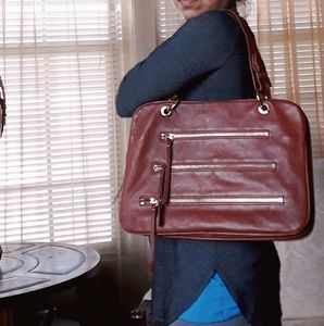 Sorial New York brown leather large tote bag